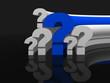 Question marks single blue - 3d render