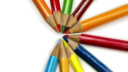 Color pencils spread around, stop-motion