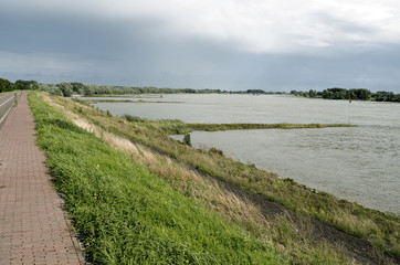 Dike along The Waal at Opijnen in The Netherlands.