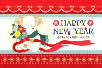 2015年未年完成年賀状テンプレート「マフラー羊と花束HAPPYNEWYEAR」