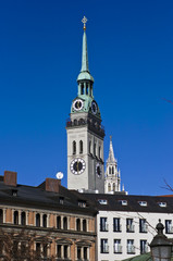The tower of St. Peter's Church, Munich, Germany