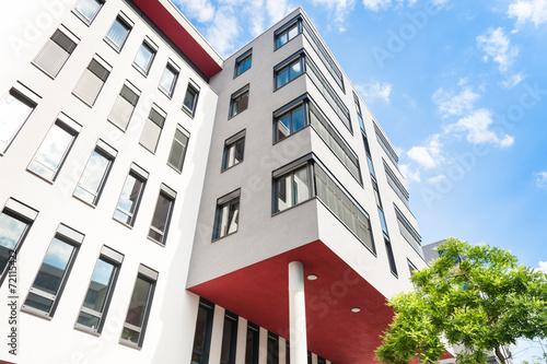 Leinwanddruck Bild modernes Haus  - Gebäude in Frankfurt