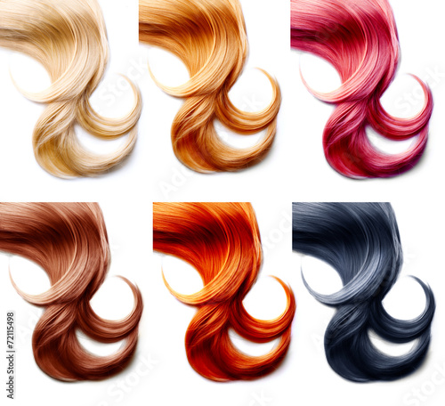 Hair palette. Hair Colors Set isolated on white background - 72115498