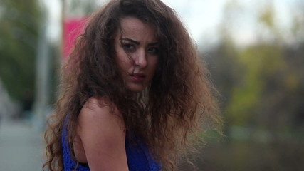 Autumn melancholy, lonely upset woman in park, break-up, crisis