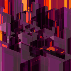 3d abstract glass background, modern purple faceted structure
