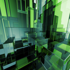 3d abstract green glass geometric background