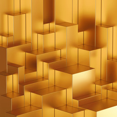 3d abstract geometric gold blocks background