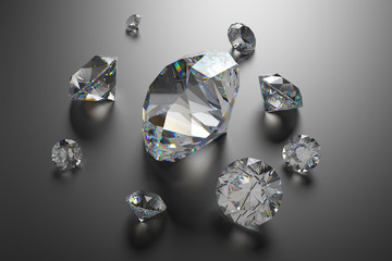 3d sparkling brilliants and diamonds background