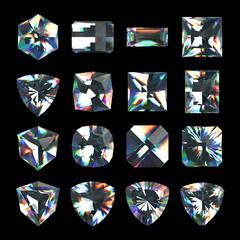 3d crystals, assorted gemstones, jewels, diamonds, brilliants