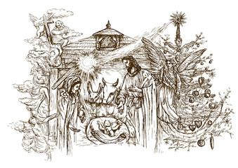 Nativity Scene - hand drawn vector