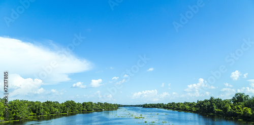view to the river Mississippi with its wide river bed and untouc - 72117885