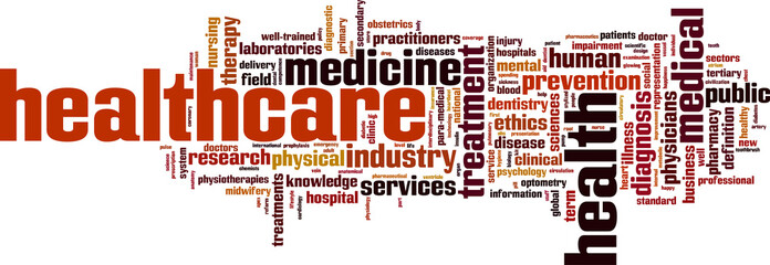 Healthcare word cloud concept. Vector illustration