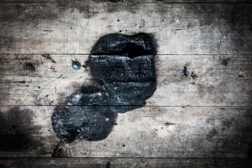 Close up of burn log