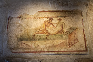 Erotic Frescoes in Pompei, Italy