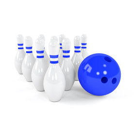Bowling ball with the white skittles