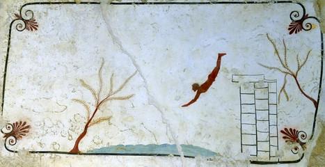 Ancient Greek Fresco in Paestum, Italy