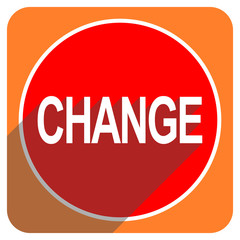 change red flat icon isolated