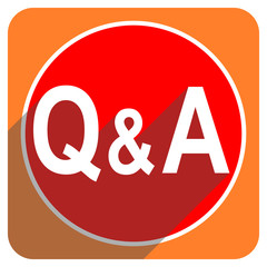 question answer red flat icon isolated