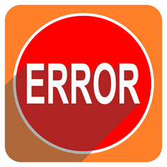 error red flat icon isolated