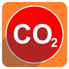 carbon dioxide red flat icon isolated
