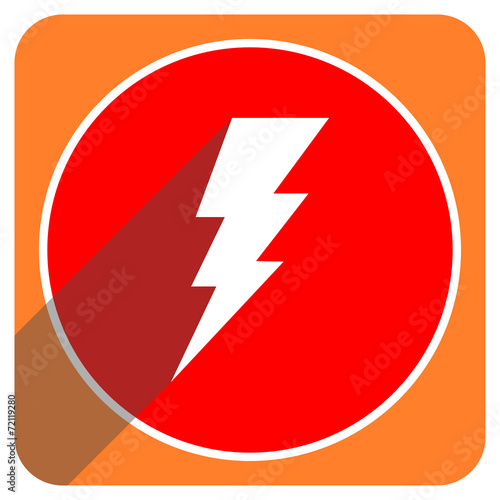 canvas print picture bolt red flat icon isolated