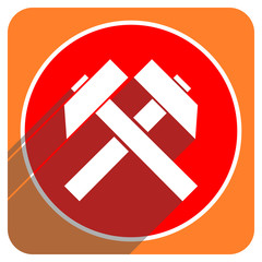 mining red flat icon isolated