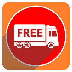 free delivery red flat icon isolated