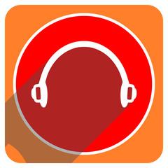 headphones red flat icon isolated
