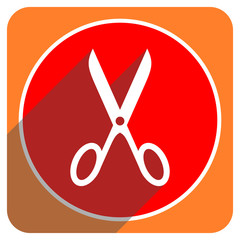scissors red flat icon isolated