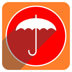umbrella red flat icon isolated