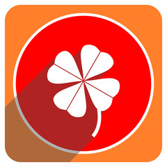 four-leaf clover red flat icon isolated