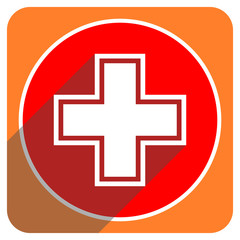 pharmacy red flat icon isolated