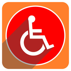 wheelchair red flat icon isolated