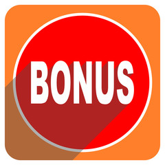 bonus red flat icon isolated
