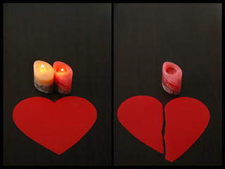Conceptual  diptych of  love relationship and loneliness