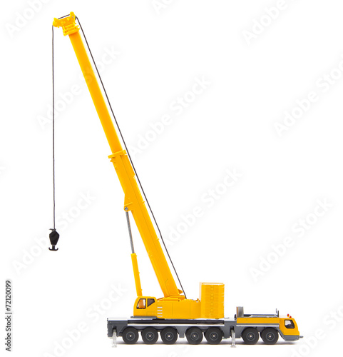 canvas print picture toy truck crane isolated over white backgroung