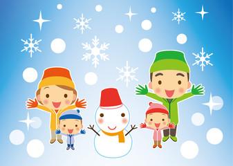 冬 喜びいっぱい家族