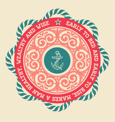 Retro label with nautical elements
