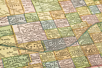 Nebraska on a vintage map