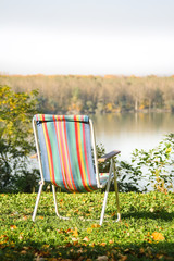 Empty striped chair with a beautiful view