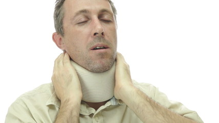 Male In Neck Support Brace With Pain