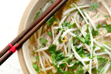 vietnamese pho soup with chicken