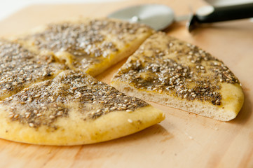 za'atar flat bread, a lebanese or turkish bread