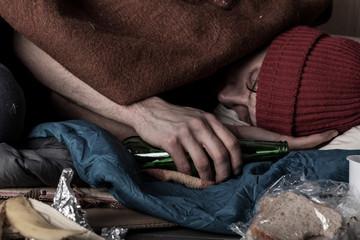 Drunk homeless man sleeping