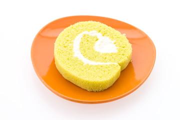 Jam roll cake isolated on white background