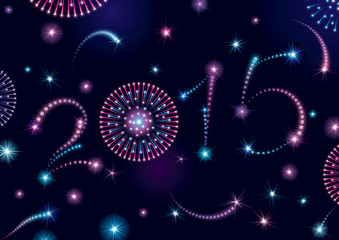 Happy New Year 2015! Vector holiday fireworks background