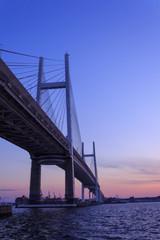 Yokohama Bay Bridge at dusk