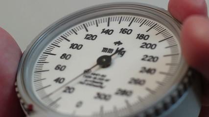 Close-up blood pressure measurement, blood test, healthcare