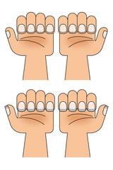 手のひら 爪のイラスト