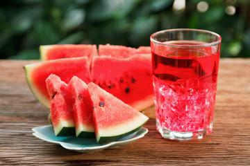 Fresh watermelon slice and watermelon juice